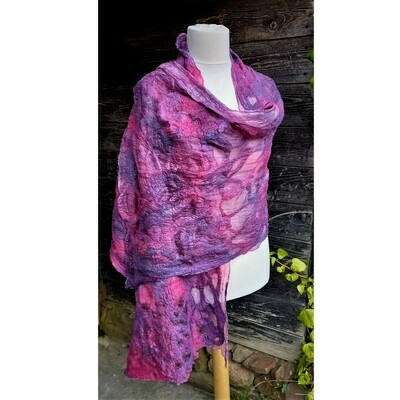Felted merino wool and silk large wrap shawl - hand-dyed
