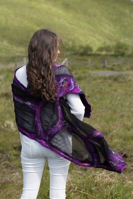 Nuno Felted Silk Chiffon Scarf - Purple