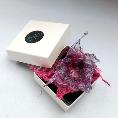 SILK GREY & PINK Flower Brooch in Box