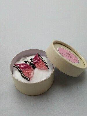 Quilled Pink Butterfly Necklace