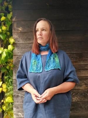 'Kells Bay' SILK & Merino Hand dyed Necktie scarf - Blue/Green