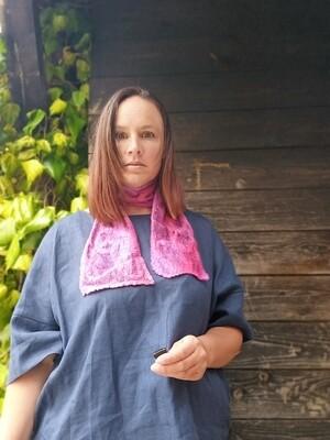 'Kells Bay' SILK & Merino Hand dyed Necktie scarf - Purple/Pink