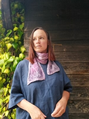 'Kells Bay' SILK & Merino Hand dyed Necktie scarf - Soft Grey/Pink