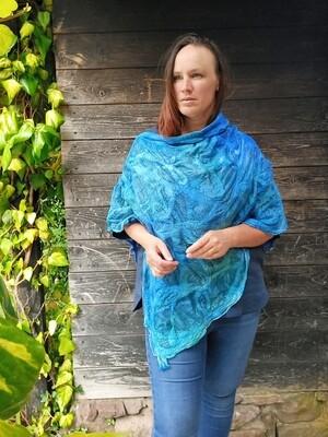 Luxury Silk poncho shawl - Blue & Green