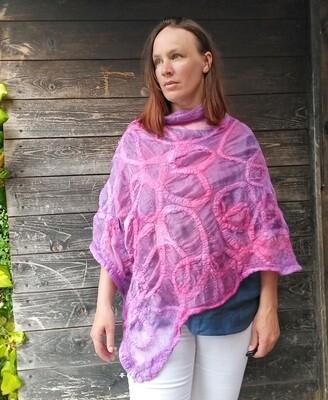 Luxury Silk poncho shawl - purple & Pink MADE TO ORDER