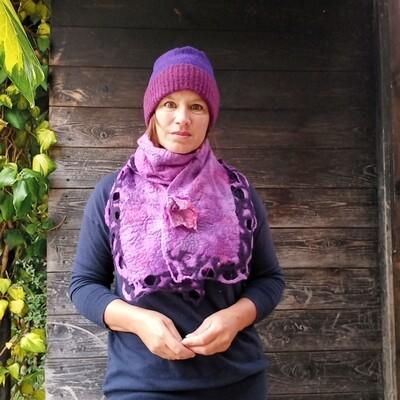 'Kells Bay' Swirl edge scarf - purple pink