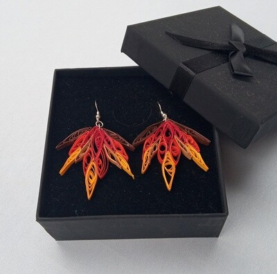 Autumn Leaves Quilled Earrings  - Gift Boxed