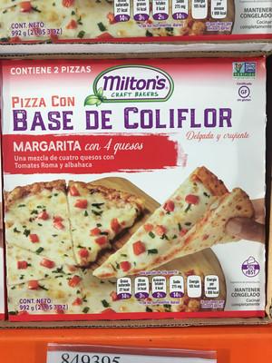 Milton's Cauliflower Pizza - Margarita With 4 Cheeses (2 Pies) No Gluten FROZEN