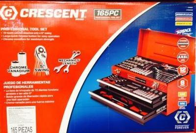 Crescent Metal Toolbox with Tools (165 pcs)