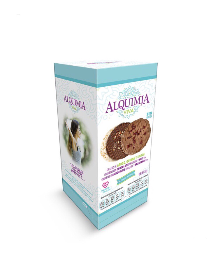 Alquimia Viva flaxseed, rice and quinoa cookies covered with chocolate 16/22g
