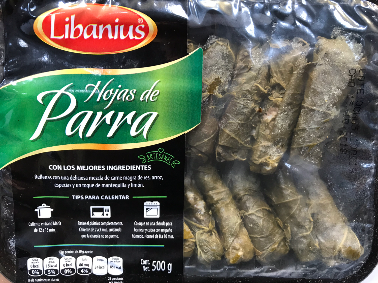 Grape Leaf Rolls filled w/ beef, rice, spices, butter and lemon (500g)