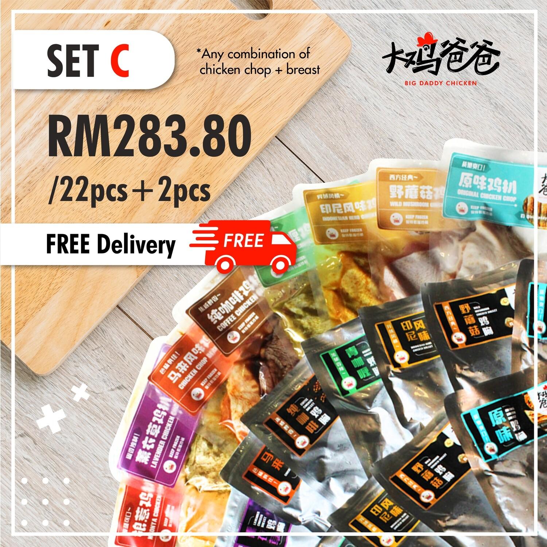 Set C - 22片+送2片 鸡扒/鸡胸  +FREE Delivery