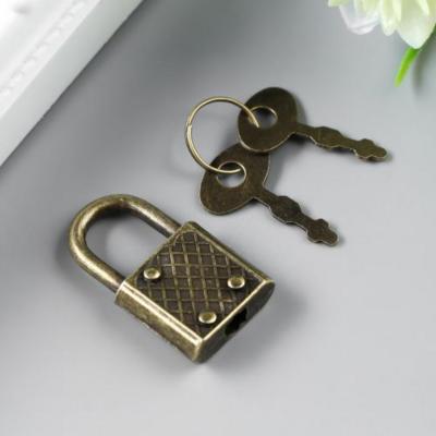 Замочек с ключиком для шкатулки металл, бронза 3,1х1,7 см