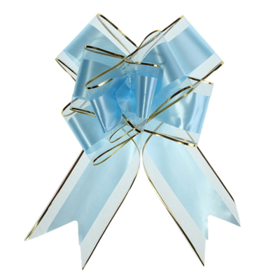 Бант-бабочка №7 органза с полосой пластик, голубой