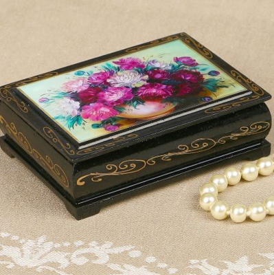 Шкатулка «Цветы», 8*10 см, лаковая миниатюра