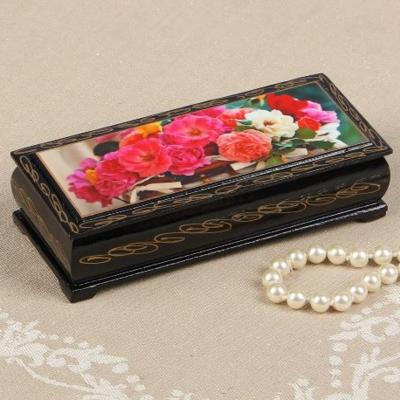 Шкатулка «Цветы в корзинке», 14*6 см, лаковая миниатюра