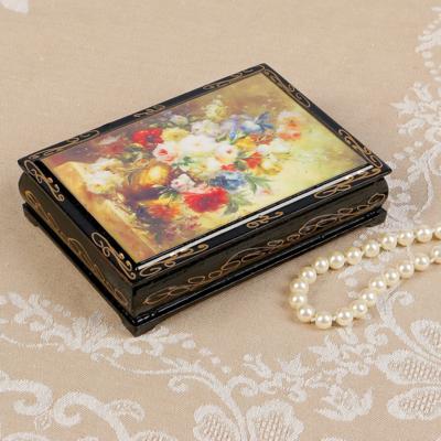 Шкатулка «Букет цветов», 10*14 см, лаковая миниатюра