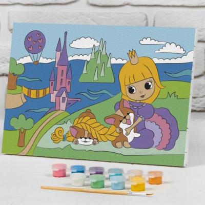 Картина по номерам на подрамнике «Принцесса у замка» 20*30 см