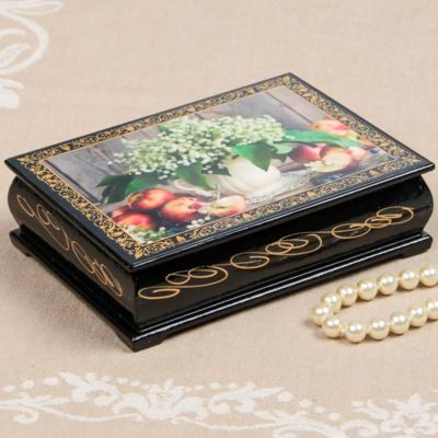 Шкатулка «Ландыши в кувшине», 10*14 см, лаковая миниатюра