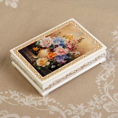 Шкатулка «Букет цветов в вазе», белая, 10*14 см, лаковая миниатюра
