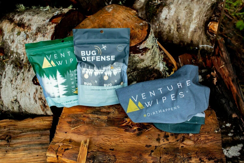 Venture Wipes - Ultimate Bundle: 10ct Venture Wipes, 15ct Bug Defense, & Venture Wipes Neck Gaiter
