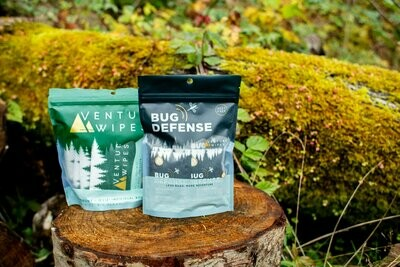 Venture Wipes Bundle 3: 10-Count Venture Wipes & 15-Count Bug Defense