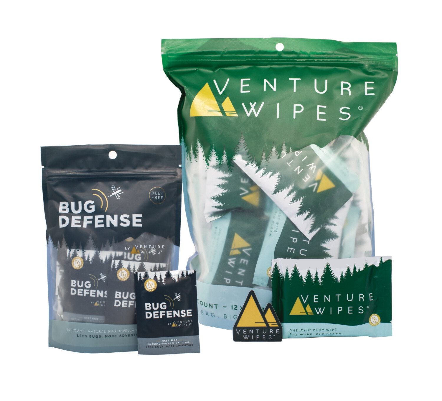 Venture Wipes Bundle 4: 25-Count Venture Wipes & 15-Count Bug Defense