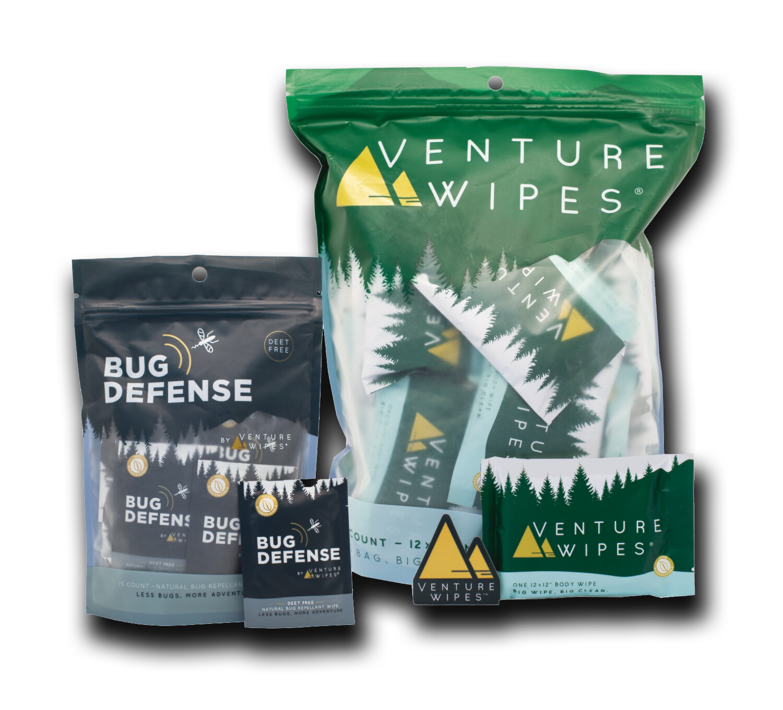 Extreme Adventure Bundle: 25-Count Venture Wipes & 15-Count Bug Defense