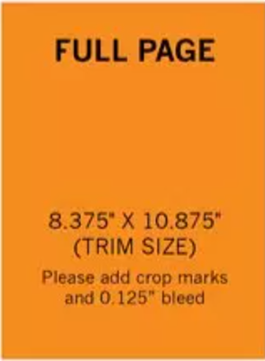 Full Page 8.375' x 10.875'