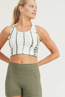 Olive Tie-Dye Crop and Shorts