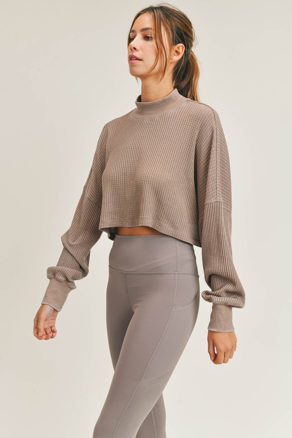 Waffled Mineral-Washed Cropped Mock