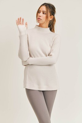 Waffled Long-Sleeve Top with Mock Neck