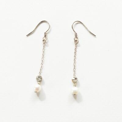 Boucles oreilles perles de culture bijou en argent et cristal