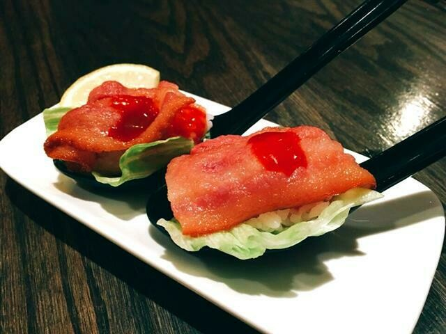 Spicy Bacon Sushi