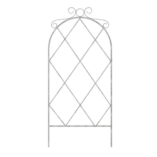 French Country Scroll Pot Trellis - Distressed White