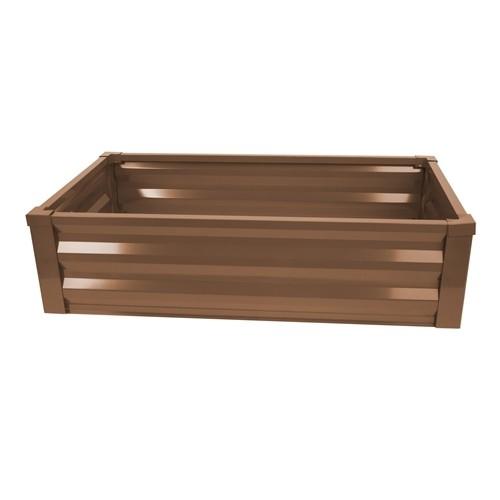 Metal Raised Planter + Liner - Timber Brown