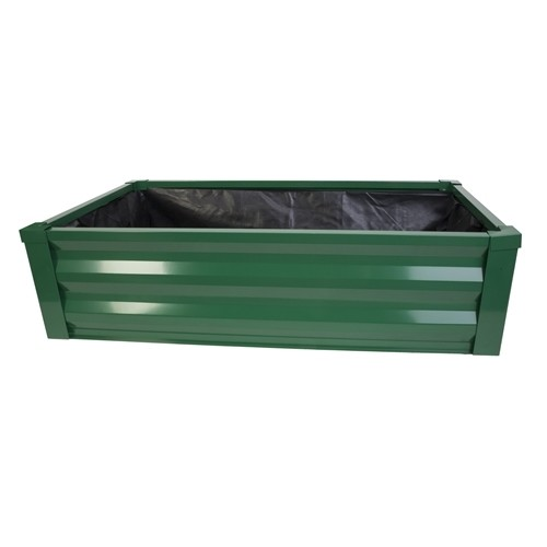 Metal Raised Planter + Liner - Forest Green