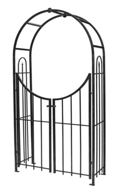 Arched Top Garden Arch + Gate - Black