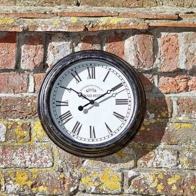 Biarritz Black Silver 12in Wall Clock