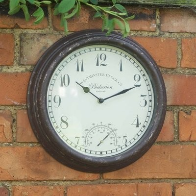 Bickerton Wall Clock & Thermometer 12in