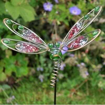 Decorative Garden Pot Stake - Wire Dragonfly