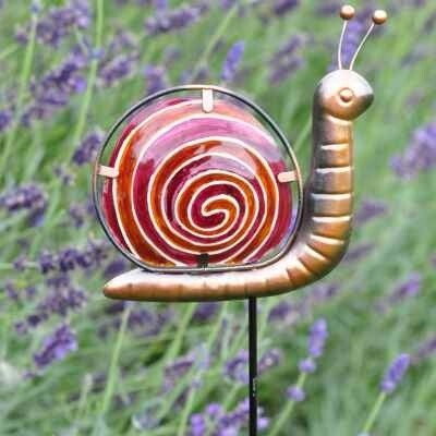 Garden Pot Stake  - Red Snail