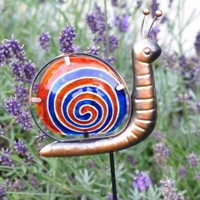 Garden Pot Stake  -  Blue Snail