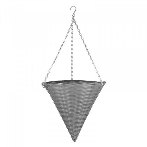 14in Slate Faux Rattan Hanging Cone