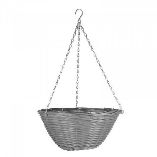 14in Slate Faux Rattan Hanging Basket