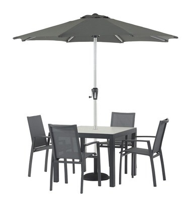 Seville 95 x 95cm Square Dining Table with 4 Seville Textilene Armchairs & Parasol