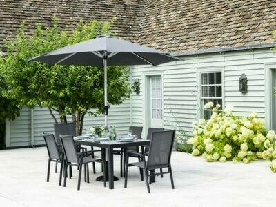 Seville 164 x 95cm Rectangle Dining Table with 4 Seville Textilene Armchairs & 2 Recliners & Parasol