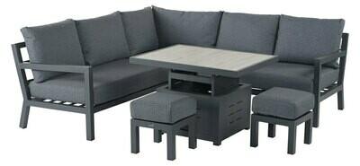 La Rochelle Mini Modular Sofa with Adjustable Ceramic Top Casual Dining Table & 2 Stools - Slate Eco