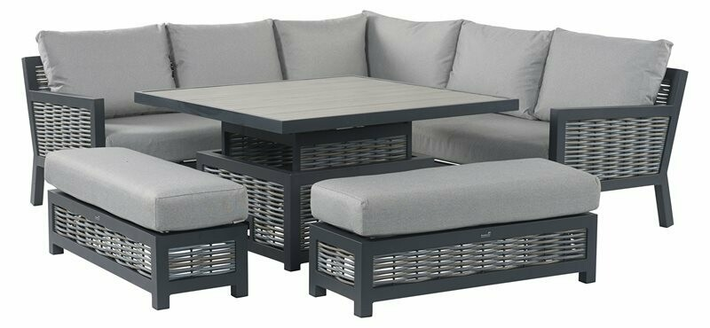 Portofino Wicker Square Modular Sofa with Adjustable Ceramic Top Casual Dining Table & 2 Benches