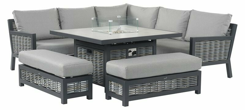 Portofino Wicker Square Modular Sofa with Firepit Casual Dining Table & 2 Benches